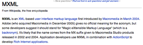 MXML according to Wikipedia